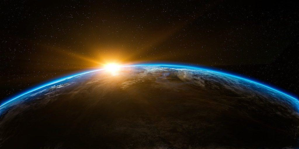 get a new perspective - sunrise over earth
